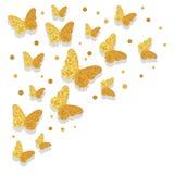 Fondo di lusso di celebrazione con le farfalle dorate illustrazione vettoriale