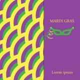 Fondo di Mardi Gras I precedenti porpora e verdi di giallo, con spazio per testo e la maschera Fotografie Stock