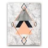 Fondo di marmo con i triangoli e gli esagoni rosa dell'oro Geometr fotografia stock libera da diritti