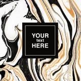fondo di marmorizzazione astratto Bianco-dorato-nero per l'invito t Fotografia Stock