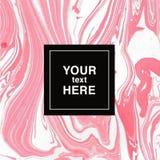 Fondo di marmorizzazione astratto nei colori bianchi e rosa per gli inviti Immagine Stock