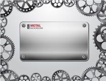 Fondo di Metall con gli ingranaggi Fotografie Stock