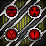 Fondo di metallo con i segni del pericolo Fotografia Stock Libera da Diritti