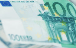 Fondo di moneta europea, euro fattura 100 Immagini Stock