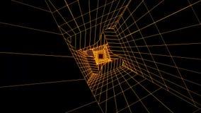 fondo di moto di Loopable del tunnel di Digital di fantascienza dell'oro 3D illustrazione vettoriale