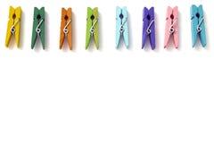 Fondo di multi mollette da bucato di tela colorate Fotografia Stock Libera da Diritti