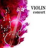 Fondo di musica classica con il violino e le note musicali Fotografie Stock Libere da Diritti