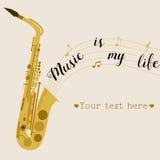 Fondo di musica con il sassofono La musica è la mia vita Immagini Stock Libere da Diritti