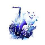 Fondo di musica con il sassofono, le note musicali e la pittura dell'acquerello di Digital degli uccelli di volo Immagine Stock