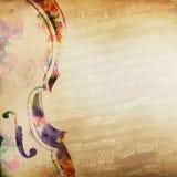 Fondo di musica con il violino Fotografia Stock Libera da Diritti