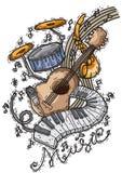 Fondo di musica con stile disegnato degli strumenti a disposizione Immagine Stock