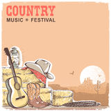 Fondo di musica country con la chitarra e il equipme americano del cowboy Fotografie Stock