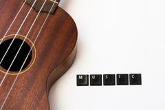 Fondo di musica di amore delle ukulele Immagine Stock Libera da Diritti