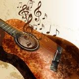 Fondo di musica di lerciume con la chitarra illustrazione di stock