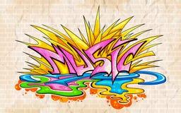 Fondo di musica di stile dei graffiti Fotografia Stock Libera da Diritti