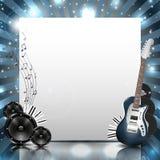 Fondo di musica di vettore con gli strumenti e le attrezzature di musica Fotografia Stock