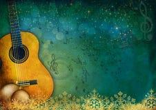 Fondo di musica e del nuovo anno con la chitarra Fotografie Stock