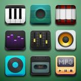 Fondo di musica per le icone di app Immagini Stock Libere da Diritti