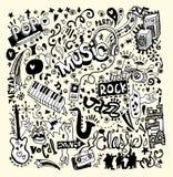 Fondo di musica, scarabocchio del disegno della mano Fotografia Stock