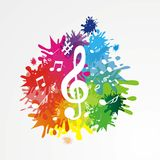 Fondo di Musik con le note Immagini Stock Libere da Diritti