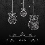 Fondo di Natale in bianco e nero Fotografia Stock Libera da Diritti