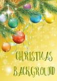 Fondo di Natale con abete e le palle Immagine Stock Libera da Diritti