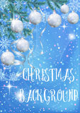 Fondo di Natale con abete e le palle Immagini Stock Libere da Diritti