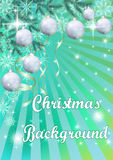 Fondo di Natale con abete e le palle Fotografia Stock