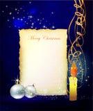 Fondo di Natale con carta e la candela Immagine Stock Libera da Diritti