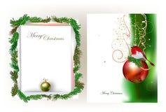 Fondo di Natale con carta e la palla strappate Fotografia Stock