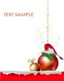 Fondo di Natale con carta e la palla strappate Fotografie Stock