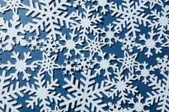 Fondo di Natale con differenti fiocchi di neve Immagine Stock