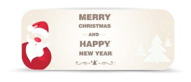 Fondo di Natale con gli alberi di natale bianco e di Santa Fotografia Stock Libera da Diritti