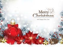 Fondo di Natale con gli ornamenti di Natale ed i fiori della stella di Natale illustrazione vettoriale