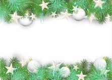 Fondo di Natale con gli ornamenti ed i rami bianchi Fotografie Stock Libere da Diritti