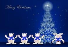 Fondo di Natale con gli orsi polari felici Fotografie Stock Libere da Diritti
