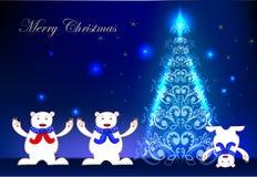 Fondo di Natale con gli orsi polari felici Fotografia Stock