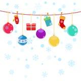 Fondo di Natale con i contenitori di regalo d'attaccatura, calzini Fotografia Stock Libera da Diritti
