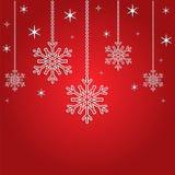 Fondo di Natale con i fiocchi di neve 3d e le stelle Fotografia Stock