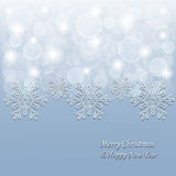 Fondo di Natale con i fiocchi di neve 3d e le stelle Fotografie Stock