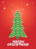 Fondo di Natale con i fiocchi di neve ed il pino Immagine Stock