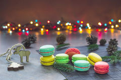 Fondo di Natale con i maccheroni Immagine Stock