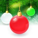 Fondo di Natale con i ramoscelli ed il natale dell'abete Fotografia Stock