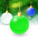 Fondo di Natale con i ramoscelli ed il natale dell'abete Immagini Stock