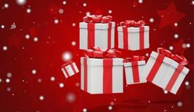 Fondo di Natale con i regali di Natale ed i fiocchi di neve 3d-illustration royalty illustrazione gratis