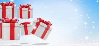 Fondo di Natale con i regali di Natale con neve ed i fiocchi di neve 3d-illustration illustrazione di stock