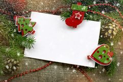 Fondo di Natale con i simboli di Natale Fotografia Stock