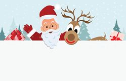 Fondo di Natale con il Babbo Natale e la renna con un posto Immagine Stock