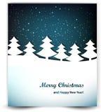 Fondo di Natale con il cielo notturno e gli alberi Immagine Stock Libera da Diritti