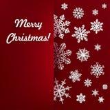 Fondo di Natale con il fiocco di neve di carta Fotografie Stock